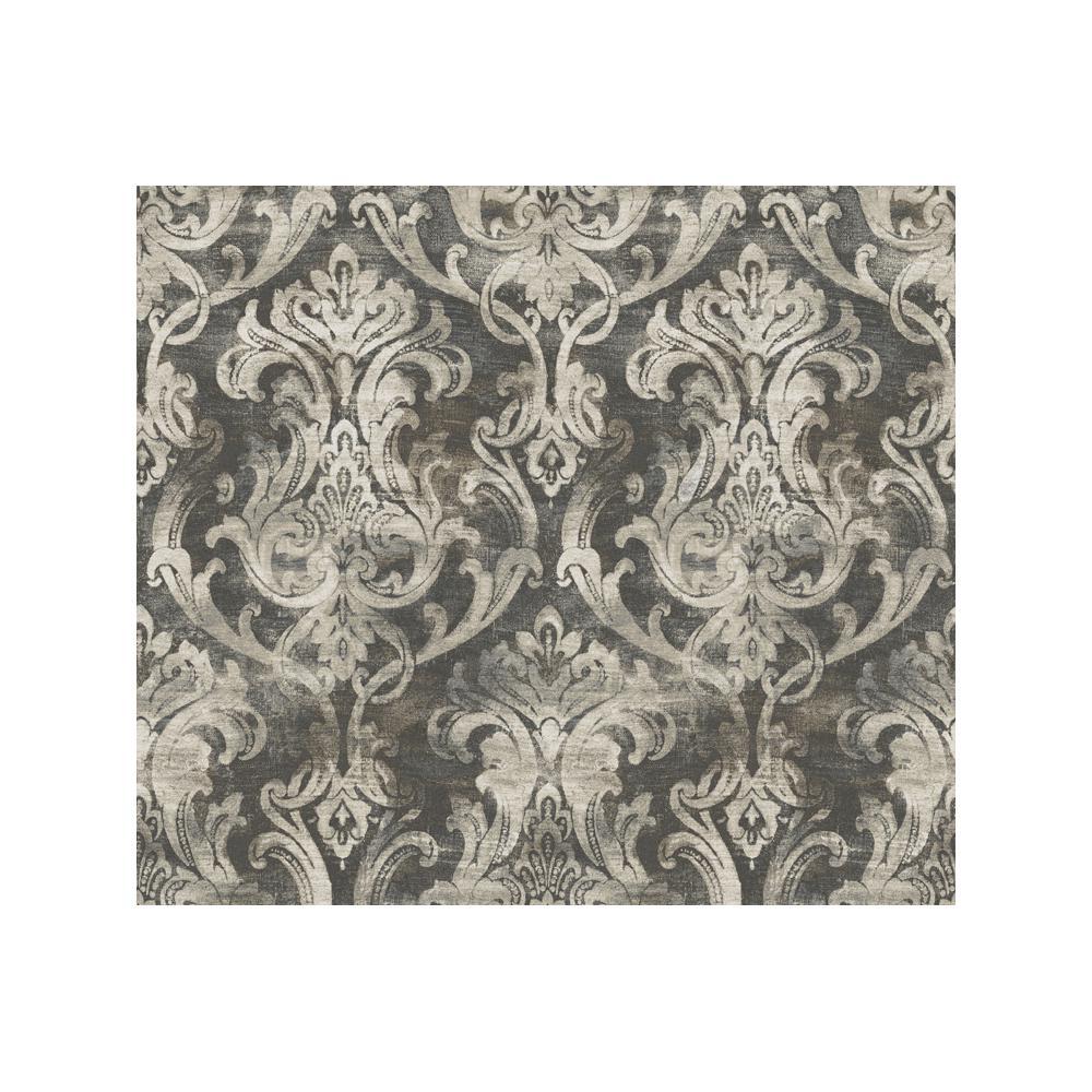 Elsa Black Ornate Damask Paper Strippable Roll Wallpaper (Covers 56.4 sq. ft.)