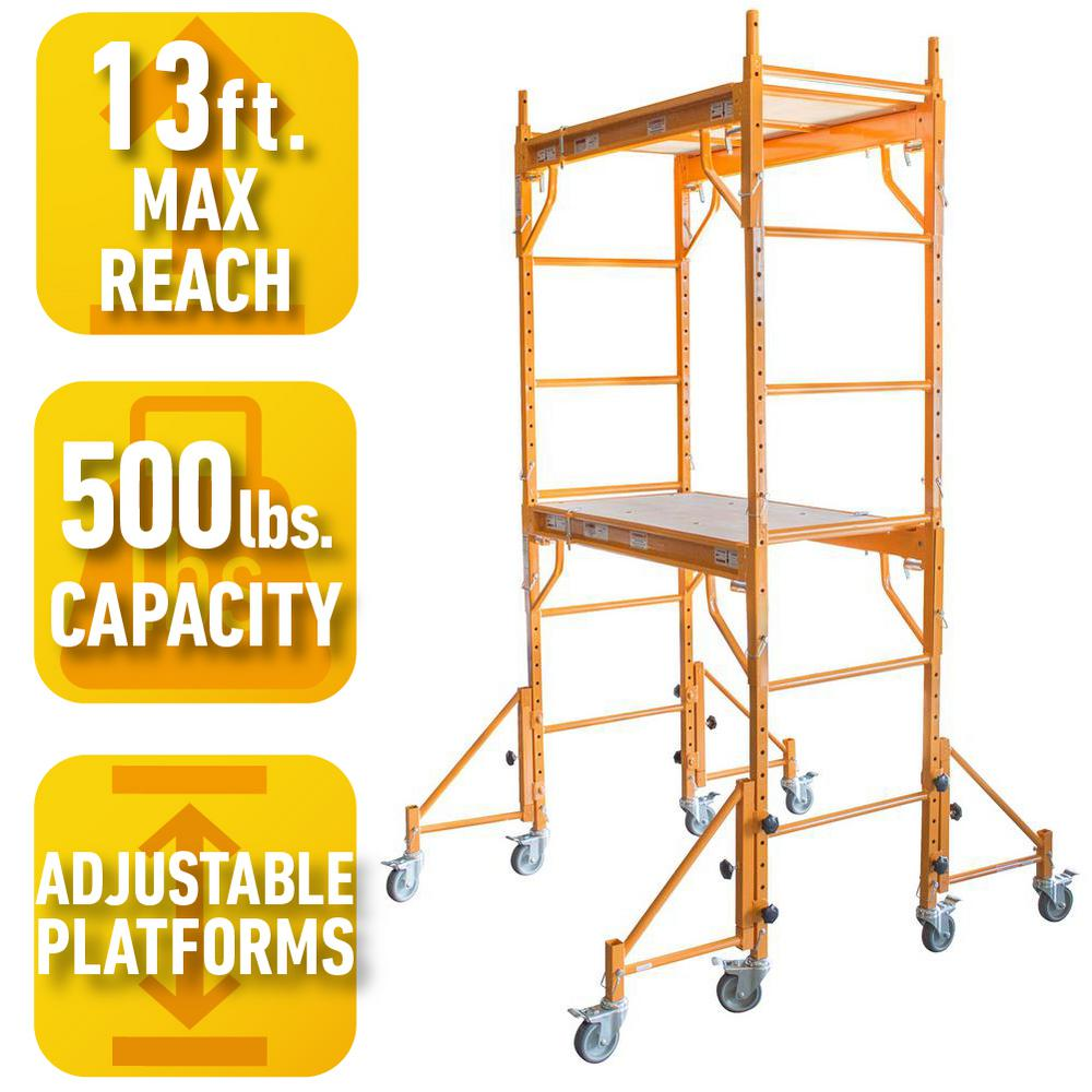 Rolling Scaffolding Home Depot : Pro series ft rolling interior mini