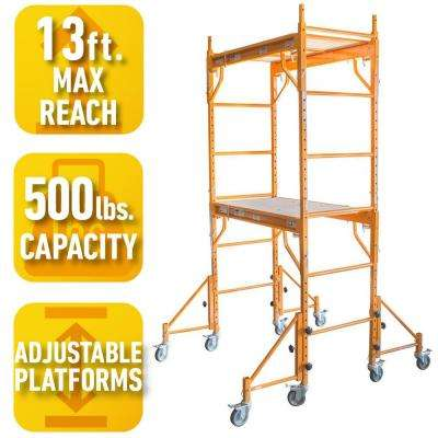 7 ft. x 4 ft. x 3.5 ft. Rolling Interior Mini Scaffold Tower Set with Outriggers and Lockable Casters for Support