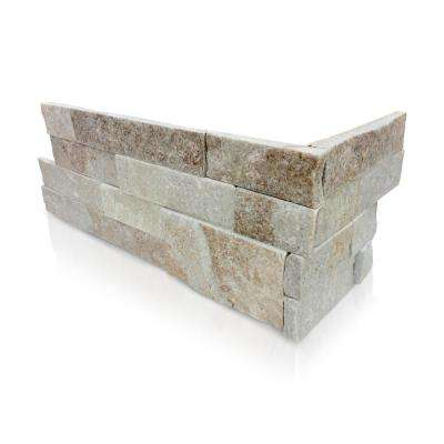 White Chestnut 6 x 16 x 8 in. Natural Stacked Stone Veneer Corner Siding Exterior/Interior  Wall Tile (2-Box/11 sq ft)