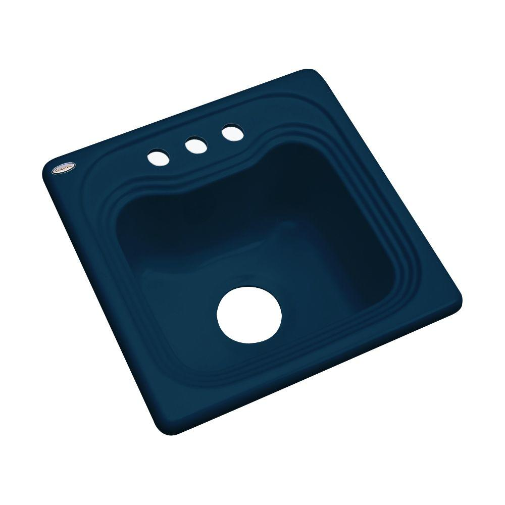Thermocast Oxford Drop-In Acrylic 16 in. 3-Hole Single Basin Bar Sink in Navy Blue