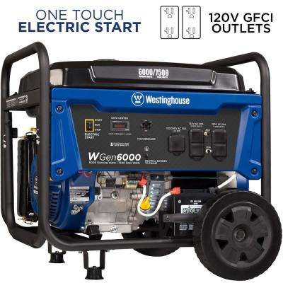 6,000-Watt Gasoline Powered Electric Start Portable Generator with VFT Data Center
