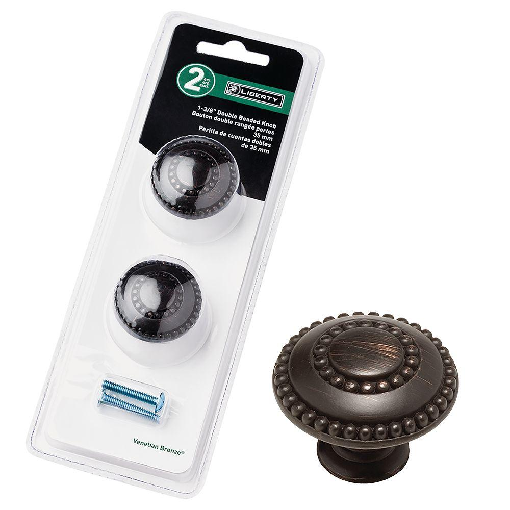 1-3/8 in. Venetian Bronze Double Beaded Cabinet Knob (2-Pack)