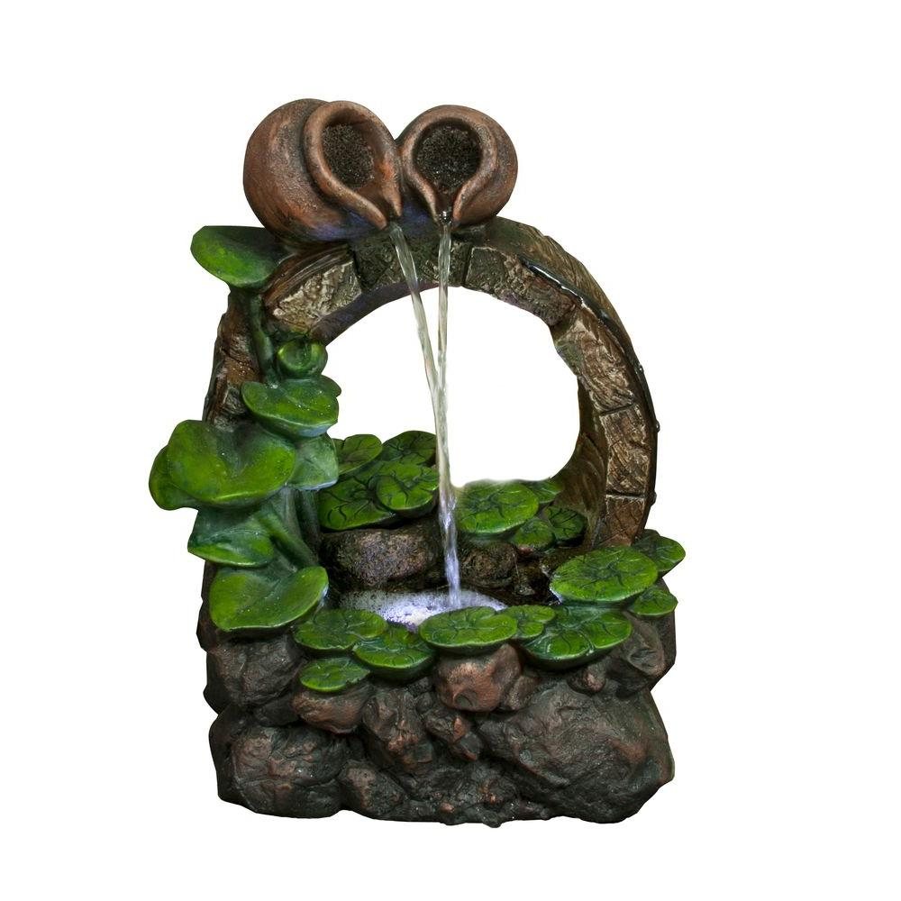 Barrel Pot Cascading Tabletop Fountain