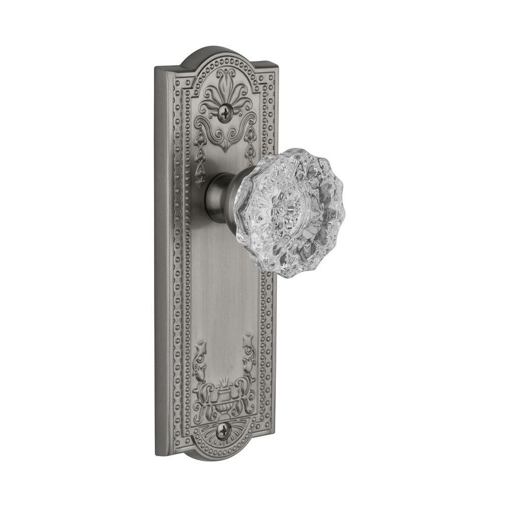Grandeur Parthenon Satin Nickel Plate with Double Dummy Versailles Crystal Knob