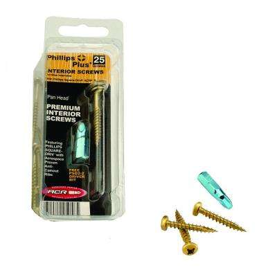 #7 5/8 in. Phillips-Square Pan-Head Wood Screws (25-Pack)