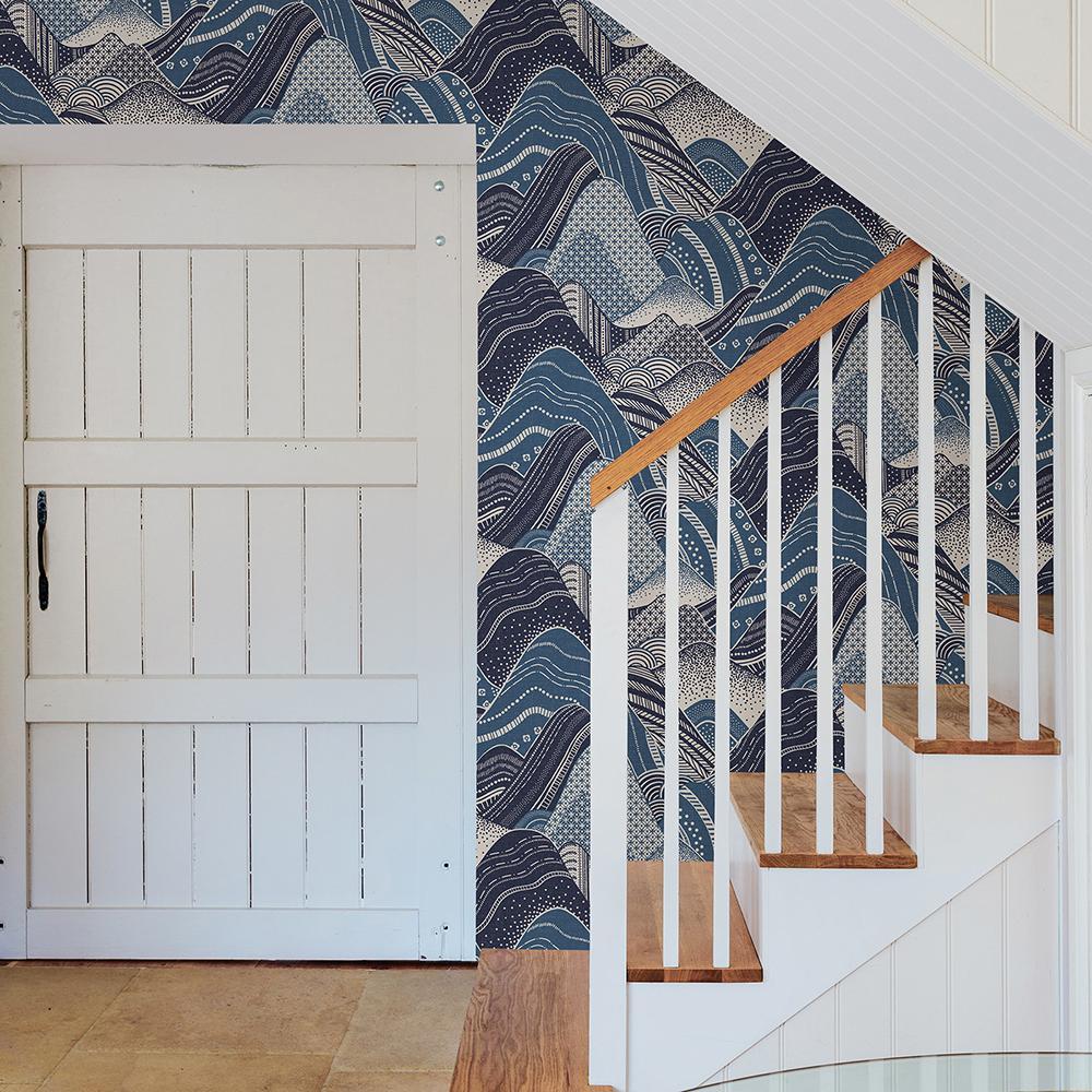 56.4 sq. ft. Meru Navy Mountain Wallpaper
