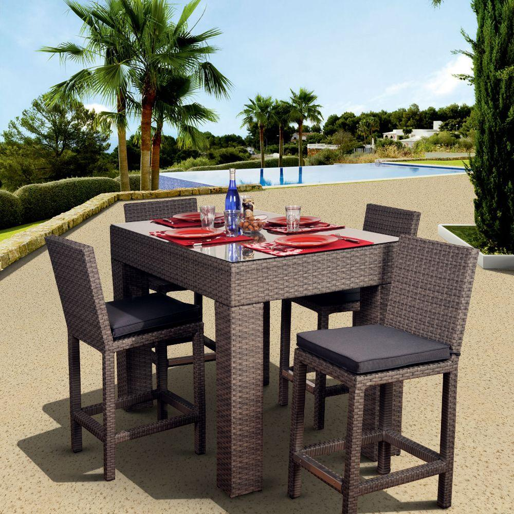 Atlantic Contemporary Lifestyle Monza 5-Piece Patio Bar Set with Grey Cushions-DISCONTINUED