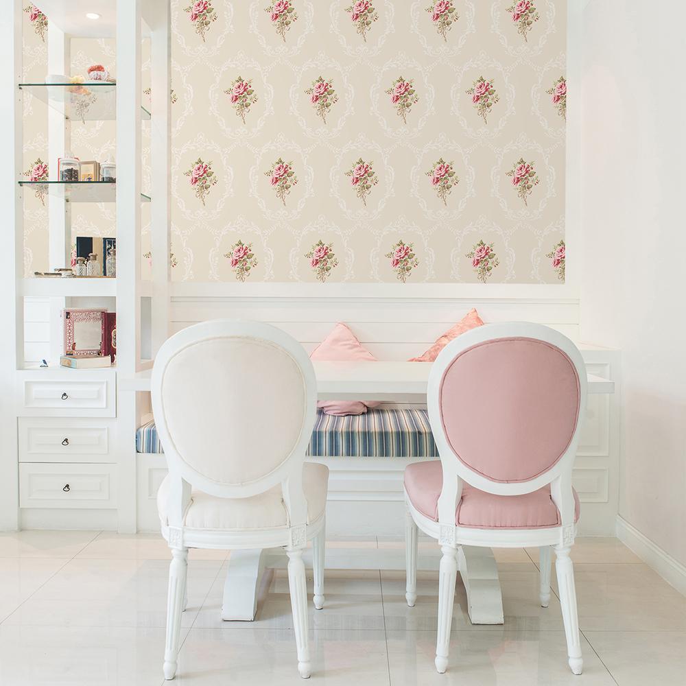 56.4 sq. ft. Camellia Gold Floral Cameo Wallpaper