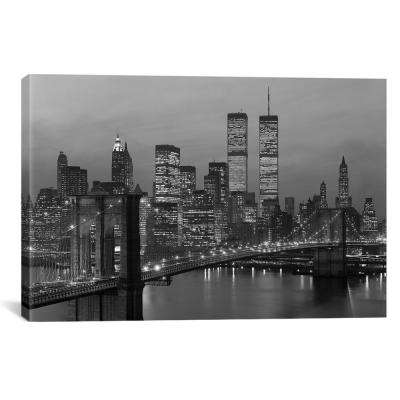 1980s New York City Lower Manhattan Skyline Brooklyn Bridge by Vintage Images Wall Art