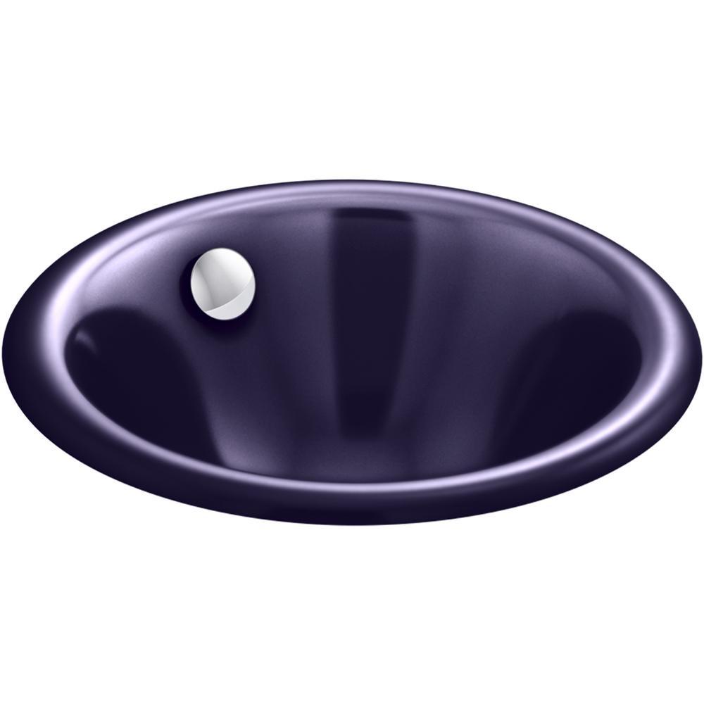 Iron Plains Round 12 in. Drop-In/Under-Mount Cast Iron Bathroom Sink in Indigo Blue