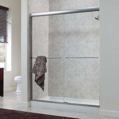 Cove 60 in. x 72 in. H Semi-Framed Sliding Shower Door in Silver with 1/4 in. Clear Glass without Handle