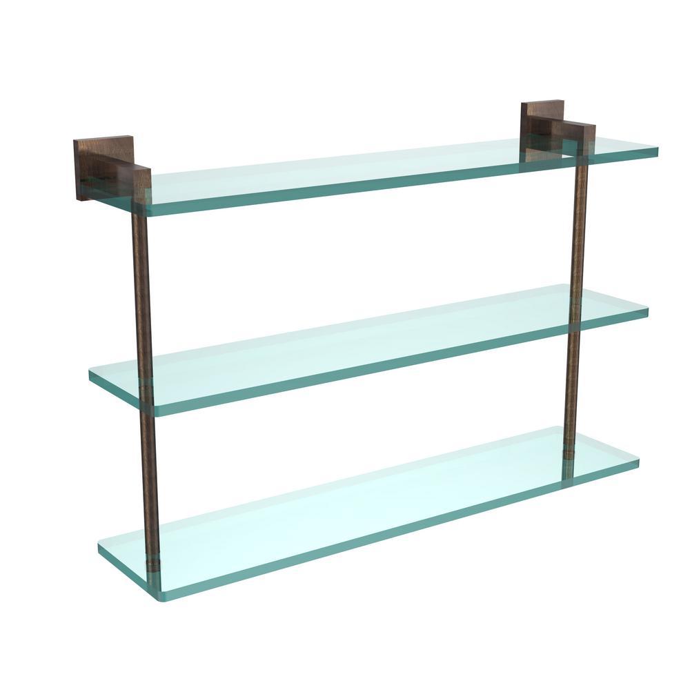 Montero 22 in. L  x 15 in. H  x 6-1/4 in. W 3-Tier Clear Glass Bathroom Shelf in Venetian Bronze