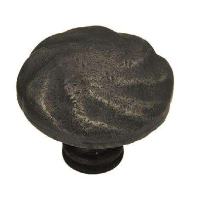 Rustique 1-1/2 in. (38mm) Distressed Oil Rubbed Bronze Round Cabinet Knob