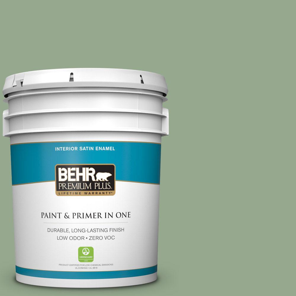 5 gal. #PPU11-05 Pesto Green Zero VOC Satin Enamel Interior Paint