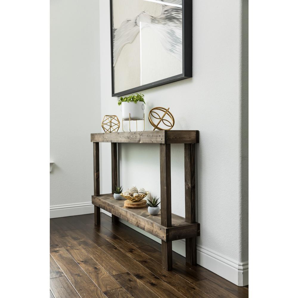 Del Hutson Designs Rustic Luxe Dark Walnut Large Sofa Table ...