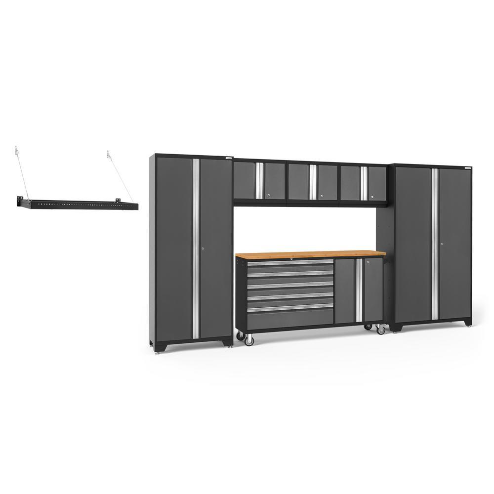 Bold Series 144 in. W x 77.25 in. H x 18 in. D 24-Gauge Welded Steel Garage Cabinet Set in Gray (6-Piece)