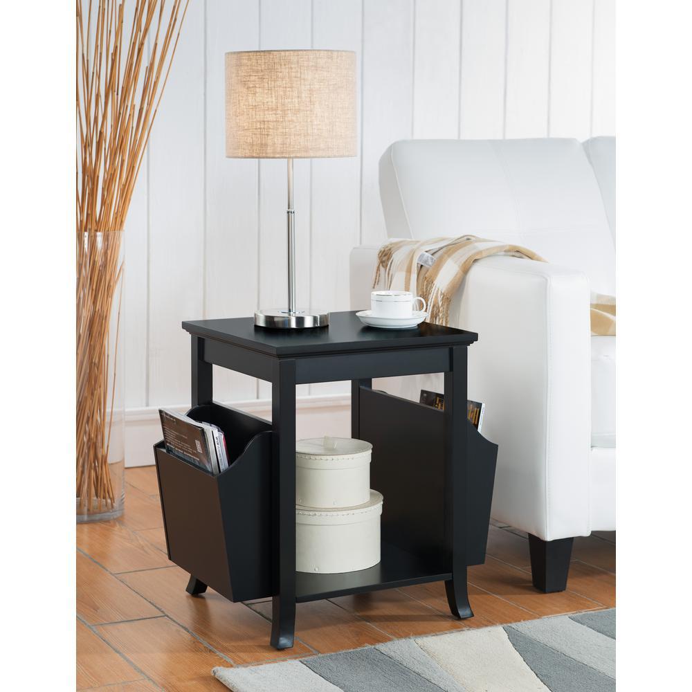 Black Wood Veneer Accent Table with Magazine Rack