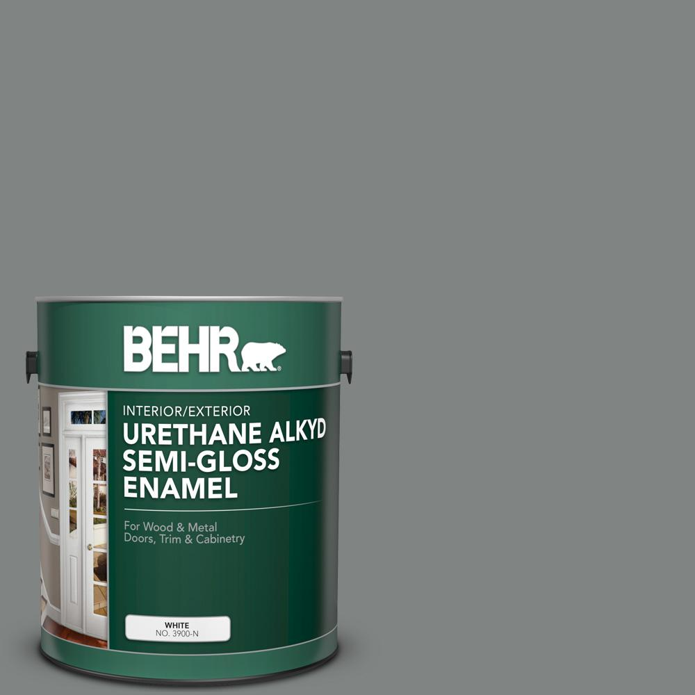 BEHR 1 gal. #6795 Slate Gray Urethane Alkyd Semi-Gloss Enamel Interior/Exterior Paint