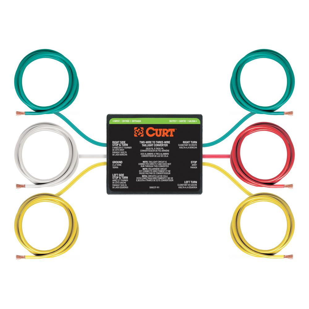 Fabulous Curt 2 To 3 Wire Taillight Converter 56196 The Home Depot Wiring 101 Photwellnesstrialsorg