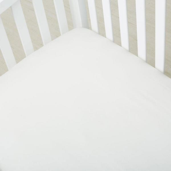 Organic Ivory Solid 300 Thread Count Cotton Sateen 4 in. Crib Sheet