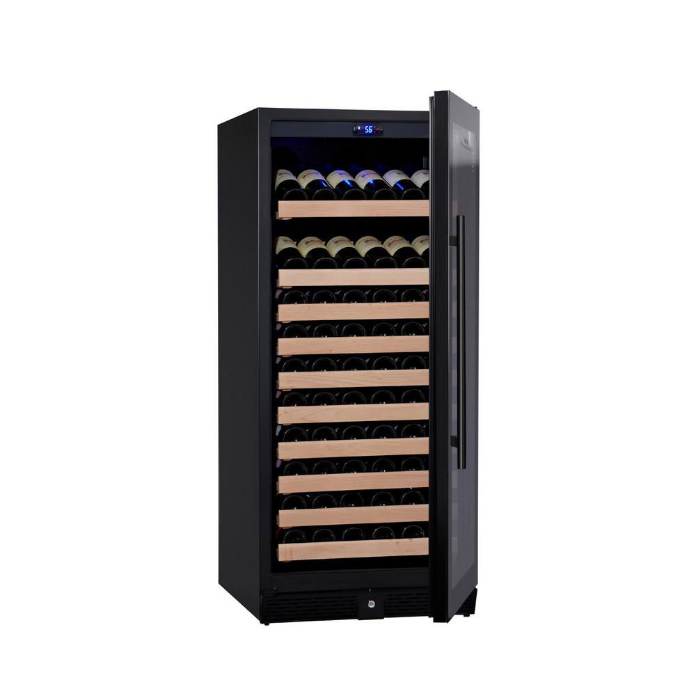 Single Zone 23.42 in. 98-Bottle Convertible Wine Cooler in Black