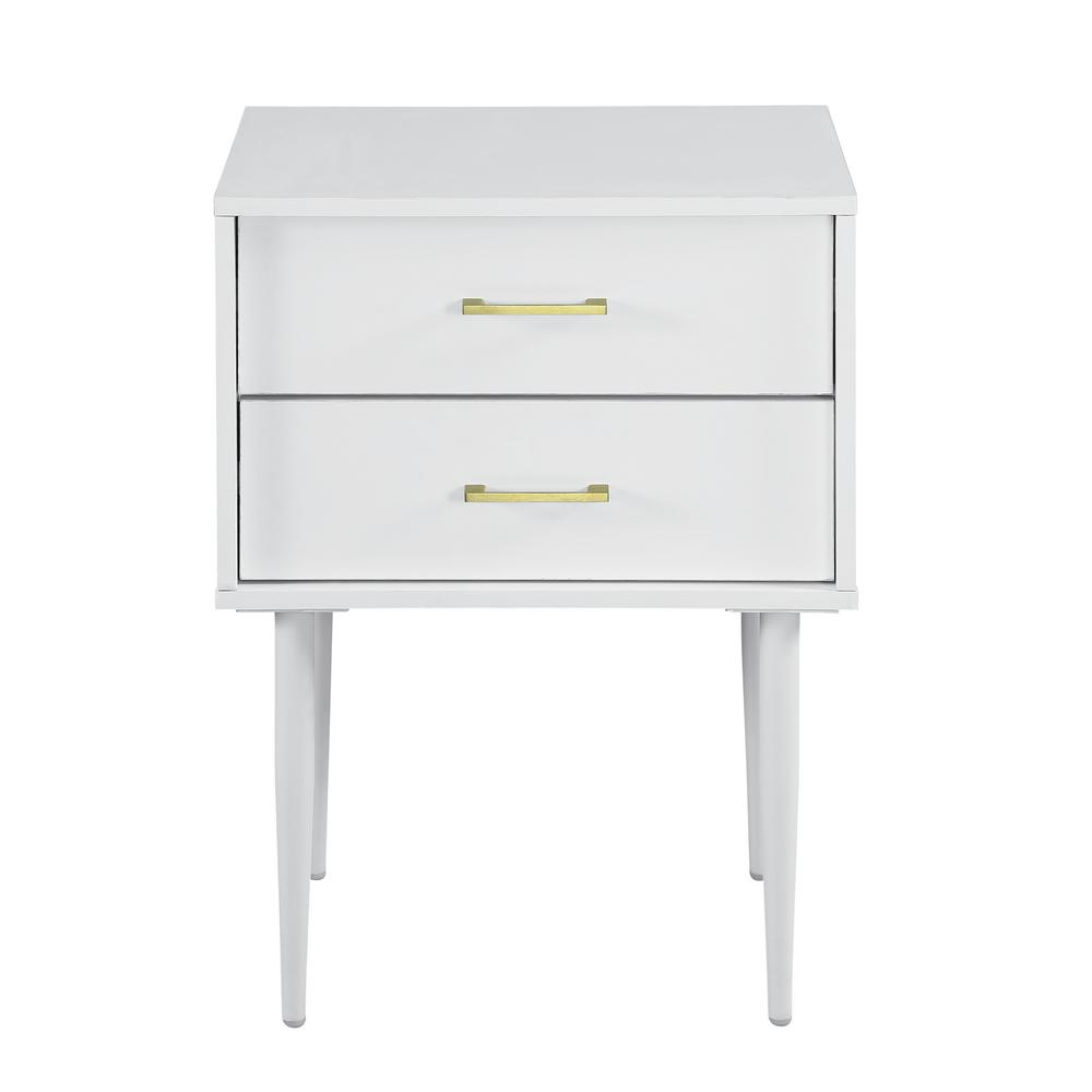 Walker Edison Furniture Company Walker Edison Furniture Company 20 in. White Olivia 2-Drawer Side Table