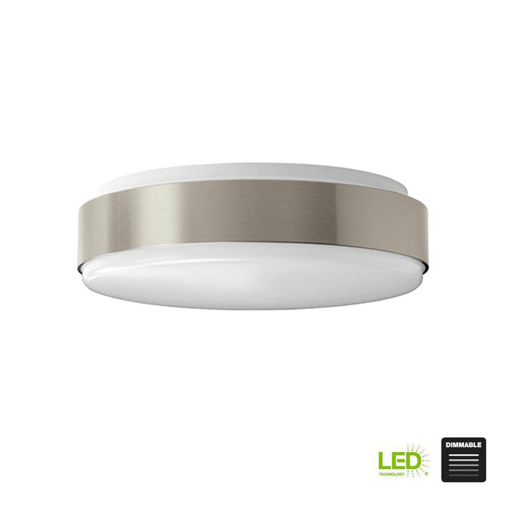 Modern Style 11 in. Round Brushed Nickel 100 Watt Equivalent Integrated
