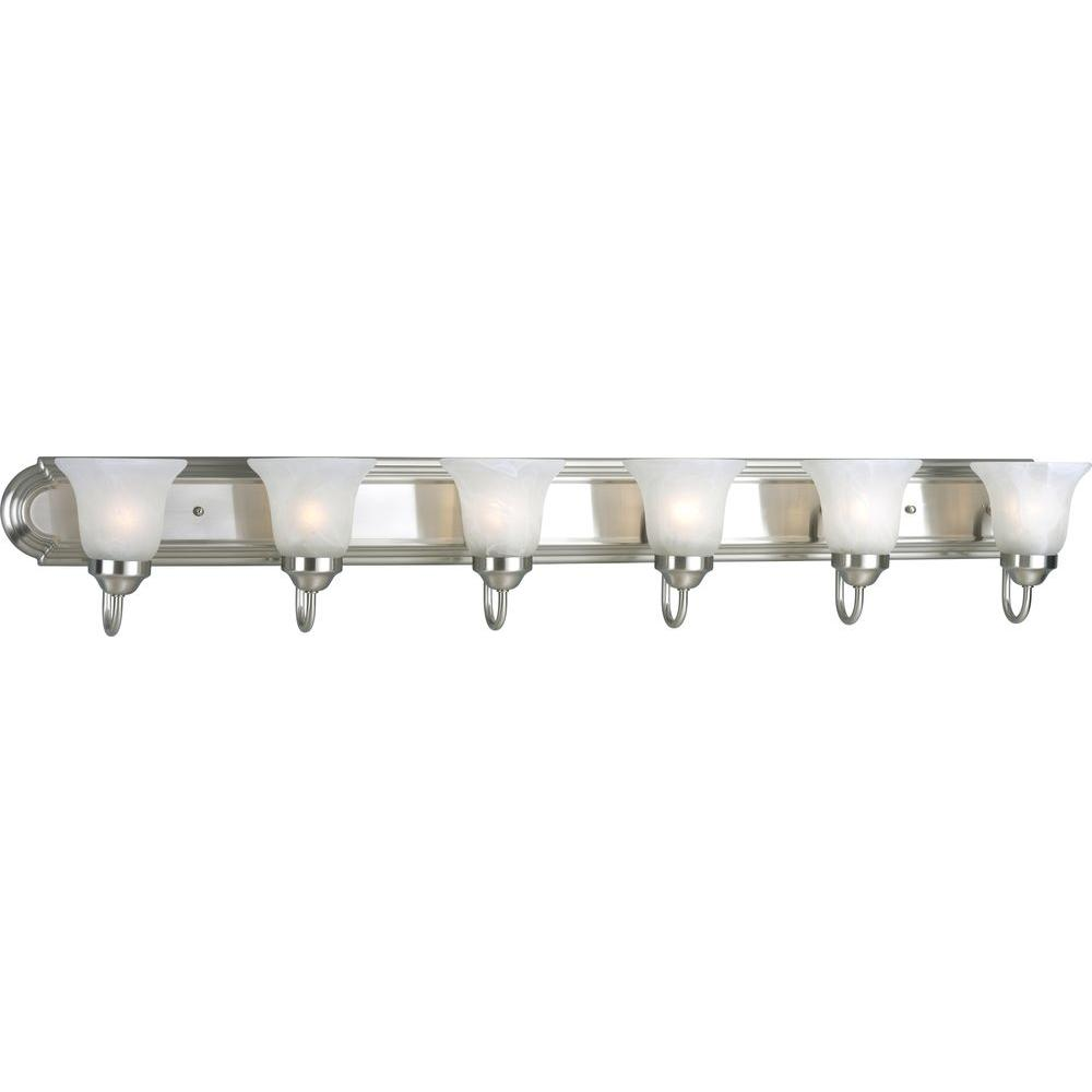 Progress lighting 6 light brushed nickel vanity light with for 6 light bathroom vanity light