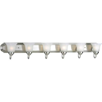 48 in. 6-Light Brushed Nickel Bathroom Vanity Light with Glass Shades