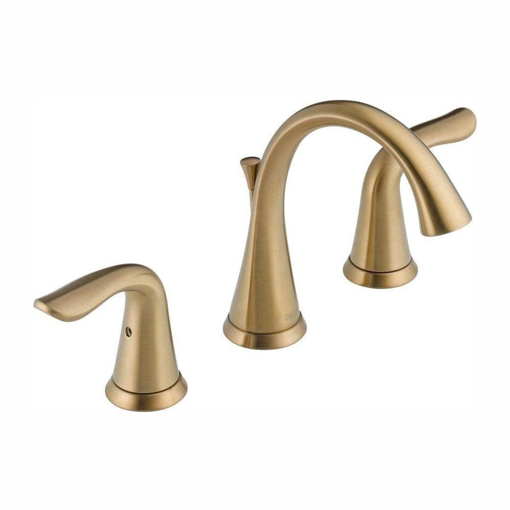 Delta Lahara 8 in. Widespread 2-Handle Bathroom Faucet with Metal Drain Assembly in Champagne Bronze