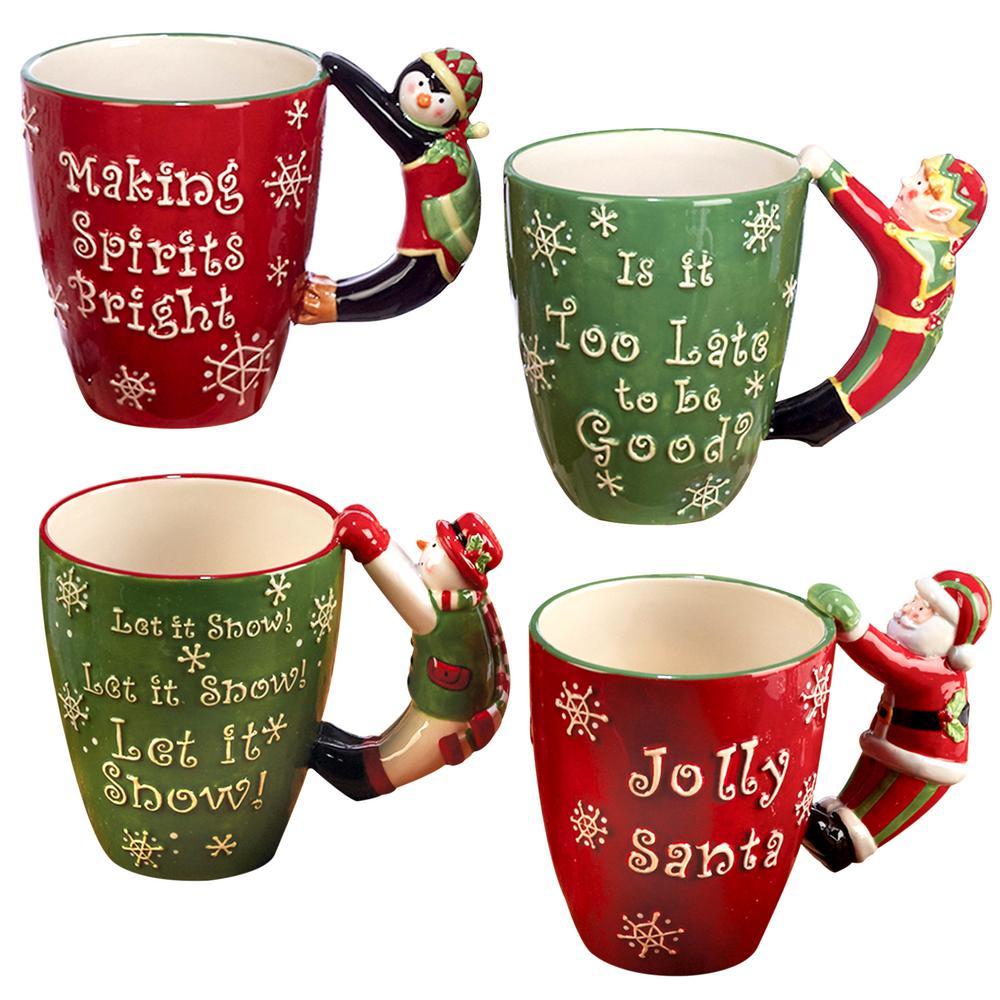 3-D 18 oz. Multi-Colored Christmas Mug with Handle (Set of 4) by