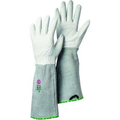 Garden Rose Size 8 Medium Durable Goatskin Leather Gloves with Long Cowhide Cuff for Extra Protection in Off White