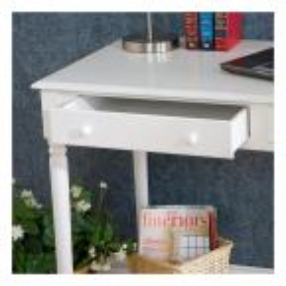 43 in. Rectangular White 2 Drawer Writing Desk with Storage