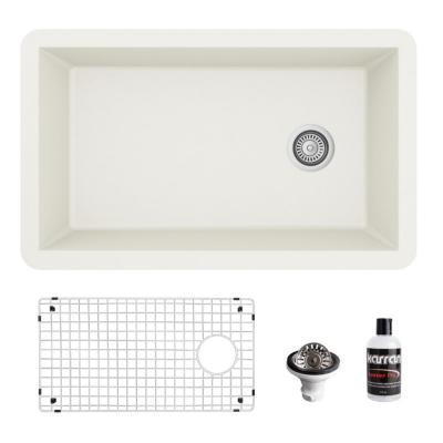 QU-670 Quartz/Granite Composite 32 in. Single Bowl Undermount Kitchen Sink with Grid and Basket Strainer in White