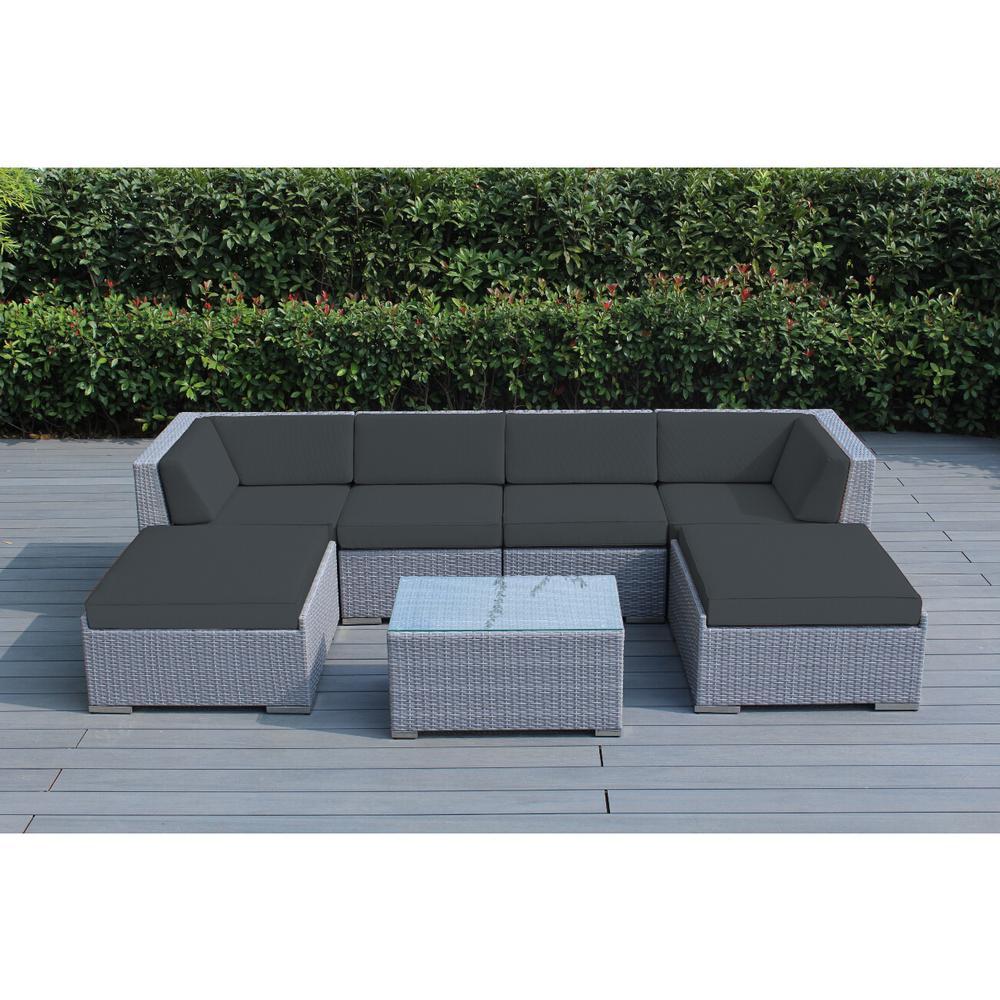 Ohana Gray 7-Piece Wicker Patio Seating Set with Spuncrylic Gray Cushions