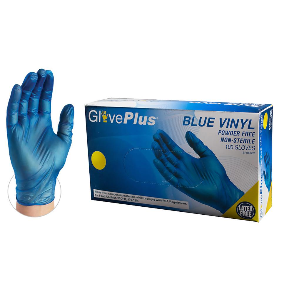 Extra Large 4 mm GlovePlus Blue Vinyl Industrial Powder Free Disposable