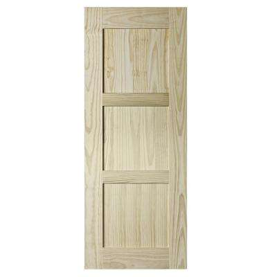 37 in. x 84 in. Shaker 3-Panels Natural Rustic Pine Interior Barn Door Slab