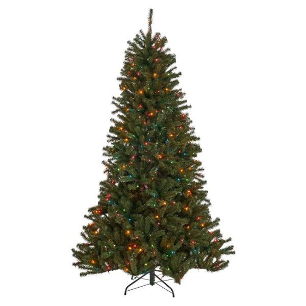 7.5 ft. Pre-Lit Noble Fir Hinged Artificial Christmas Tree with 550 Multi-Colored Lights