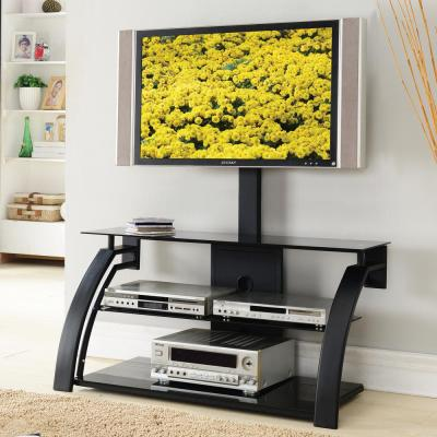Home Source Logan Plasma TV Stand with Mount and 3 Black Glass Shelves, Black Frame