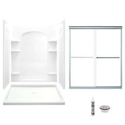 Ensemble 35.25 in. x 60 in. x 75.25 in. Center Drain and Backers Alcove Shower Kit in White and Chrome