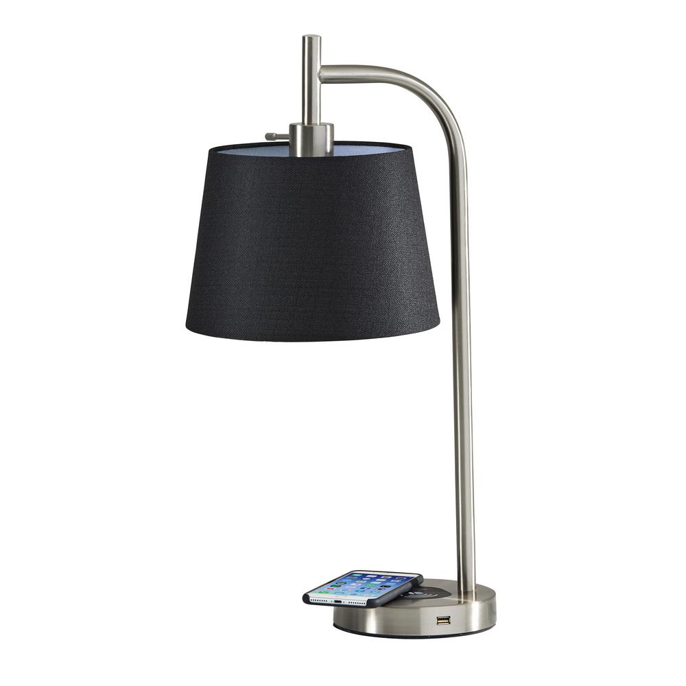 Adesso Drake 25 In Brushed Steel Table Lamp With Qi Wireless Charging