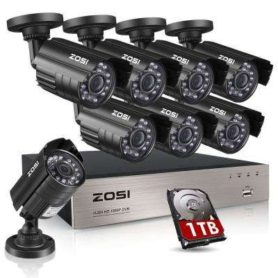 8-Channel 1080p 1TB DVR Security Camera System with 8 Wired Bullet Cameras