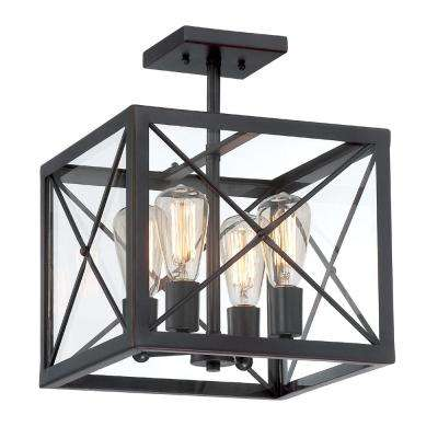 High Line 4-Light Satin Bronze Interior Incandescent Semi Flush Mount