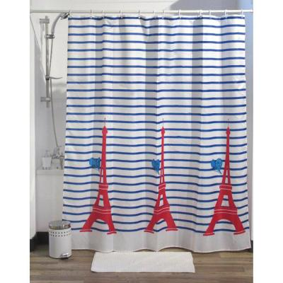 Printed Shower Curtain Polyester Fabric 71 in. W x 79 in. L + Set 12 White Shower Rings Paris