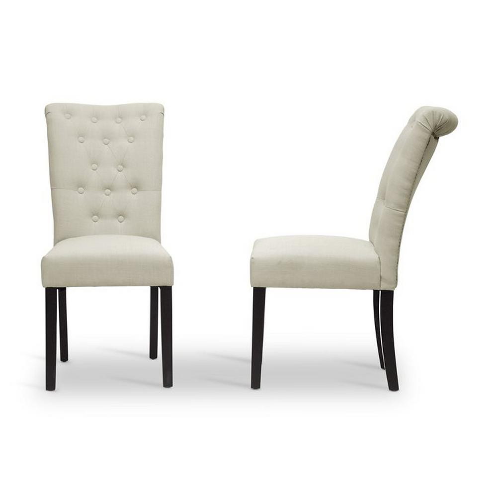 brittany beige fabric upholstered dining chairs set of 2