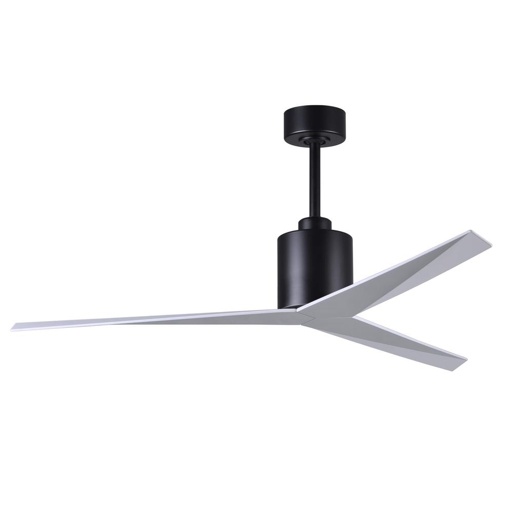 Eliza 56 in. Indoor/Outdoor Matte Black Ceiling Fan with Gloss White Blades and Hand Held Remote/Wall Control