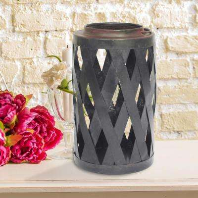 Graphite and Rust Candle Operated Open Weave Lantern