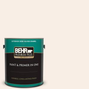 Behr Premium Plus 1 Gal M210 1 Seed Pearl Semi Gloss Enamel Exterior Paint And Primer In One 505001 The Home Depot