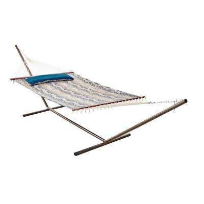 Java 13 ft. Premium Cotton Reversible Double Hammock in Teal Batik Pattern and Solid Teal